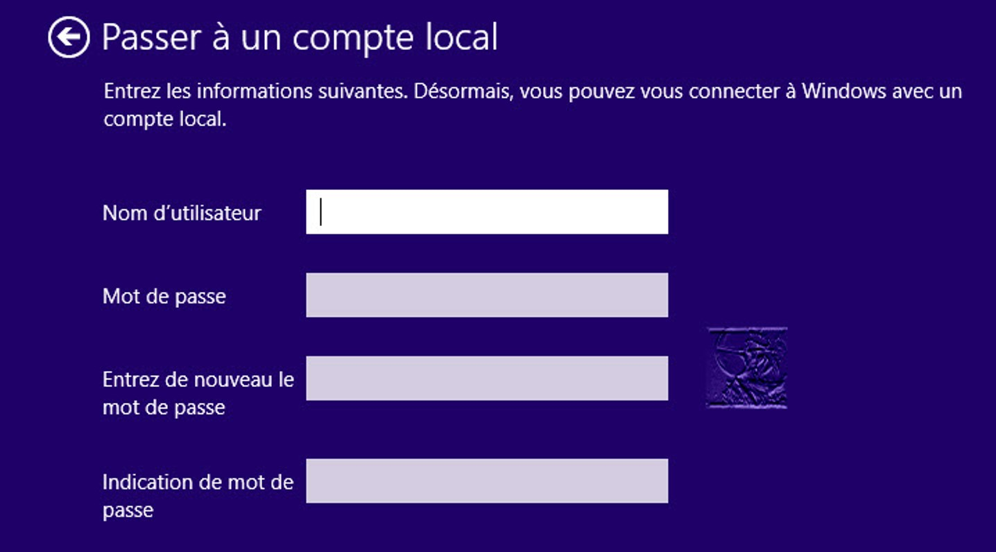 migrer vers un compte local à partir d'un compte Microsoft pour